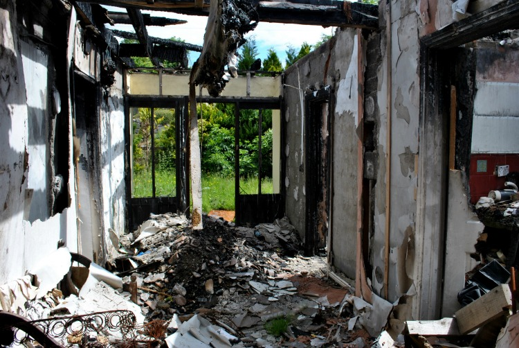 Destruction from fire in a home