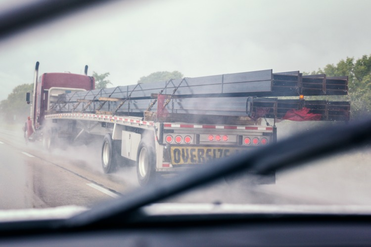 Semi truck with an oversized load