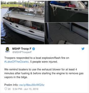 Missouri boat explosion injures five